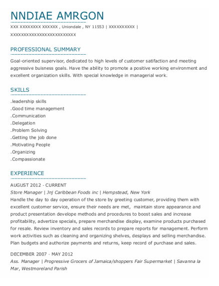 Store Manager resume example New York