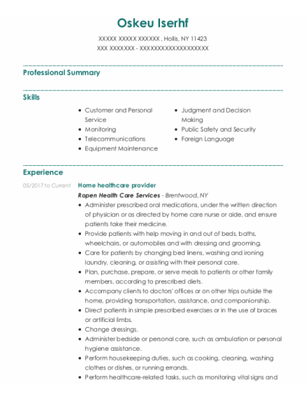 Home Healthcare Provider resume template New York