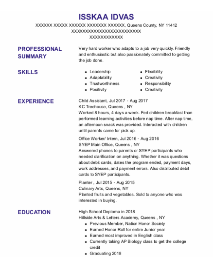 Office Worker resume template New York