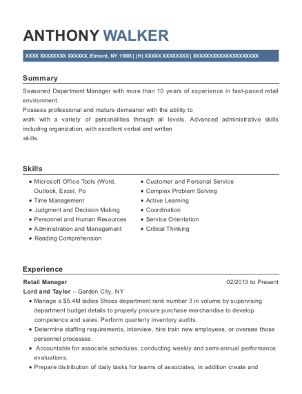 Retail Manager resume sample New York
