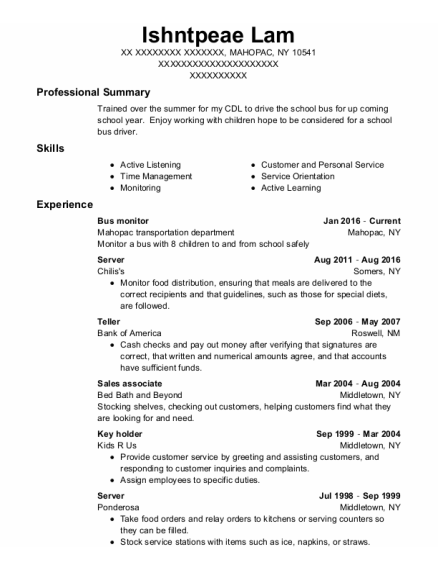 Bus Monitor resume format New York