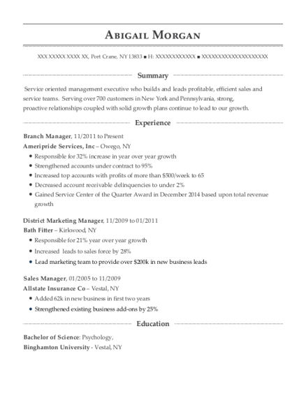 Branch Manager resume template New York