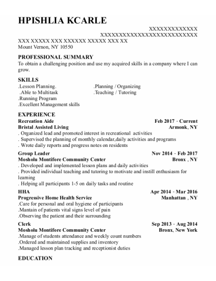 Recreation Aide resume template New York