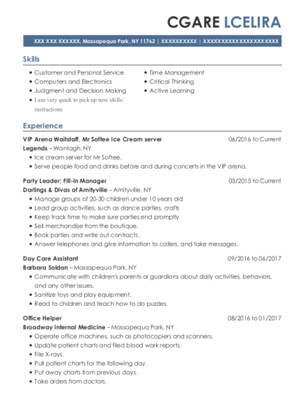 Day Care Assistant resume format New York