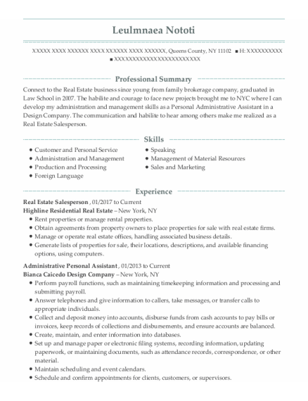 Real Estate Salesperson resume template New York