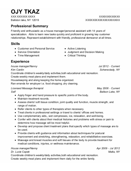 house manager resume template New York