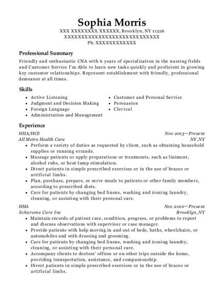 HHA resume template New York