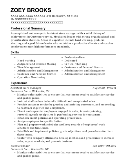 Assistant store manager resume template New York