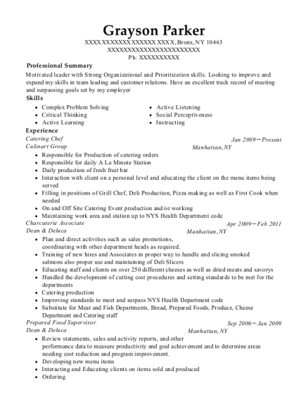 Catering Chef resume format New York