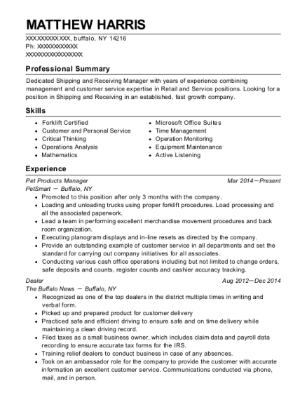 Pet Products Manager resume example New York