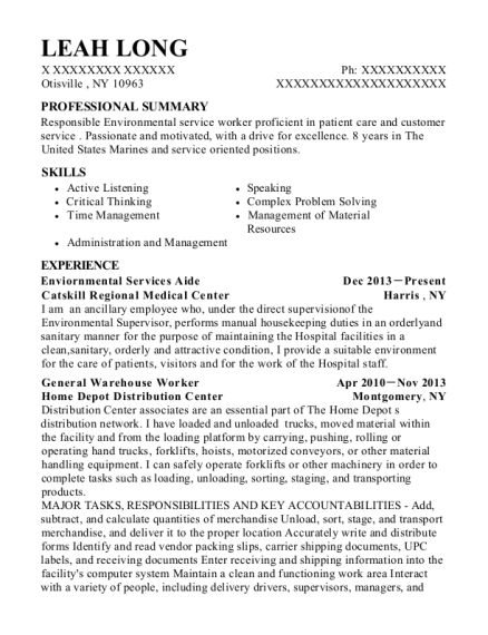 Enviornmental Services Aide resume format New York