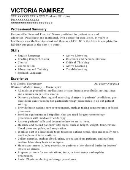 LPN Clinical Coordinator resume example New York
