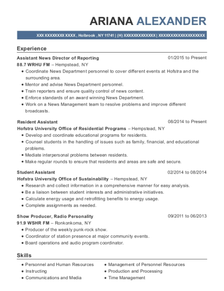 Assistant News Director of Reporting resume sample New York