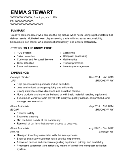 Package Handler resume format New York