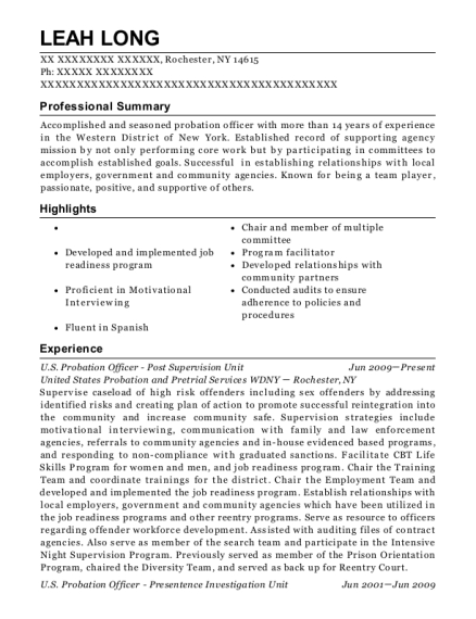 US Probation Officer Post Supervision Unit resume template New York