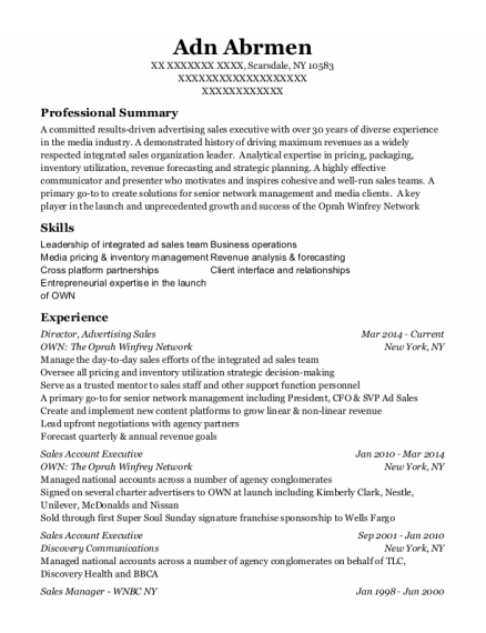 Director resume template New York