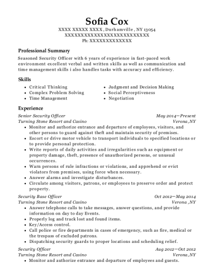 Senior Security Officer resume format New York