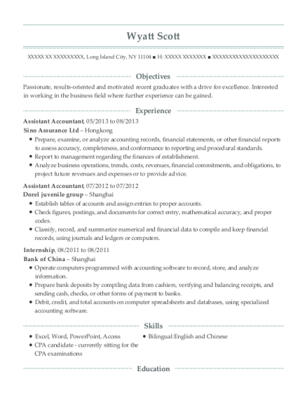 Assistant Accountant resume sample New York