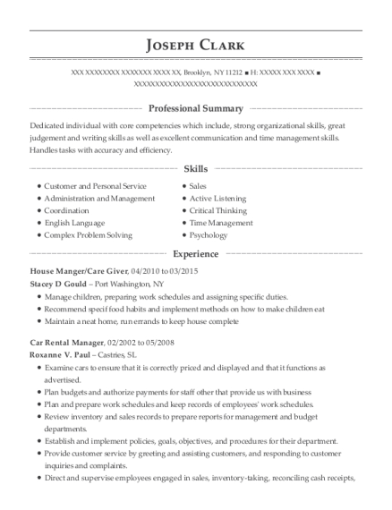 House Manger resume format New York