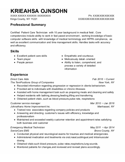 Direct Care Aide resume example New York