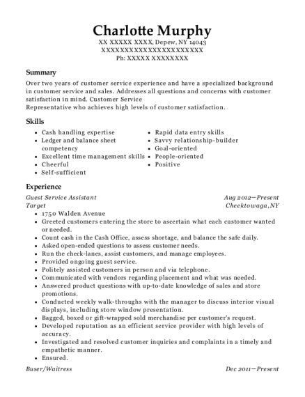 Guest Service Assistant resume format New York