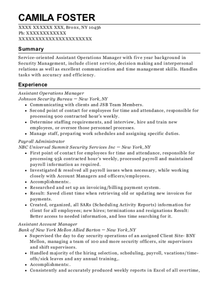 Assistant Operations Manager resume example New York