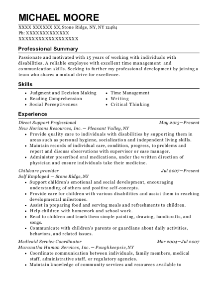 Direct Support Professional resume template New York