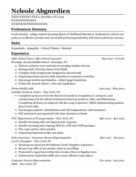 After School Tutor resume example New York