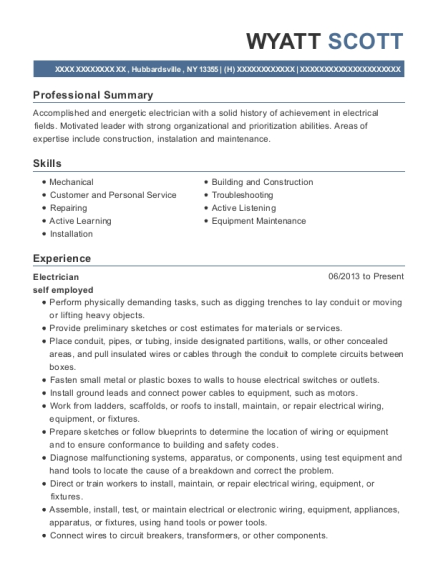 Electrician resume example New York