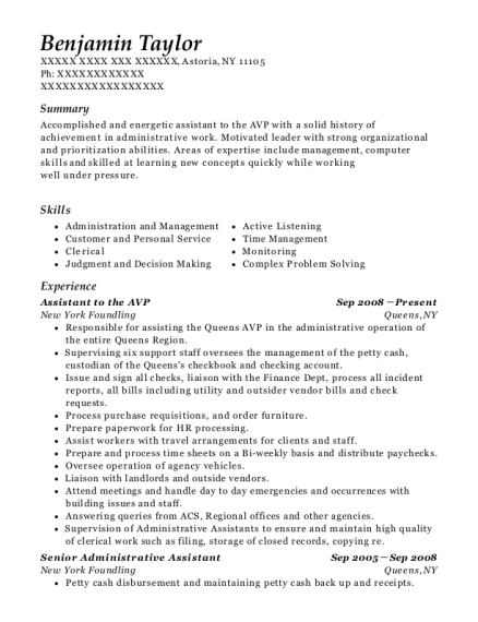 Assistant to the AVP resume example New York