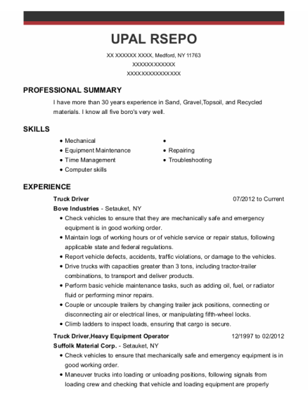 Truck Driver resume format New York