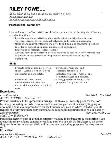 Loss Prevention resume template New York