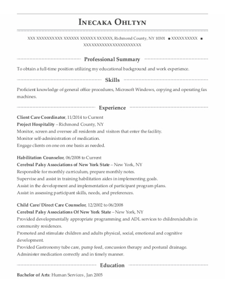 Client Care Coordinator resume sample New York