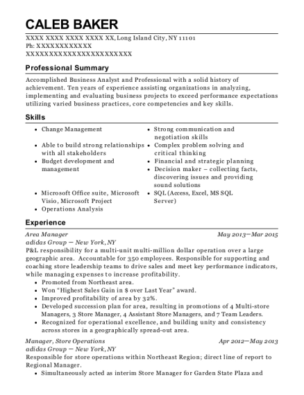 Area Manager resume format New York