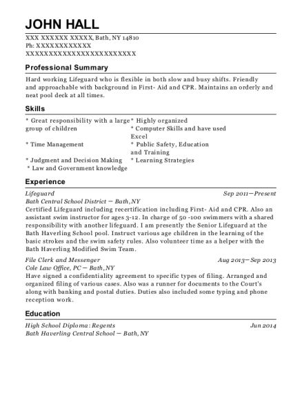 Lifeguard resume sample New York