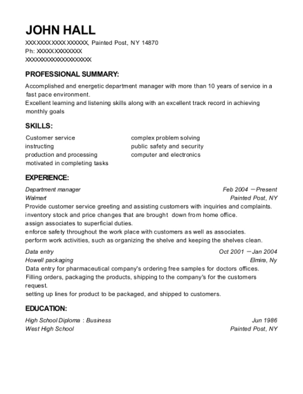 Department Manager resume sample New York