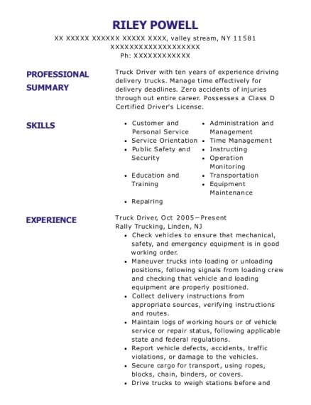 Truck Driver resume example New York