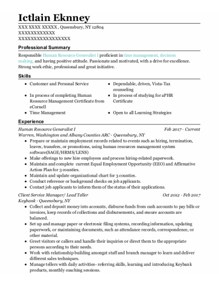 Client Service Manager resume example New York