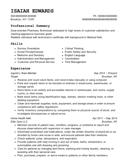 logistics Team Member resume example New York