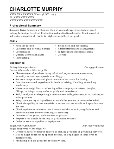 tim hortons baker resume sample