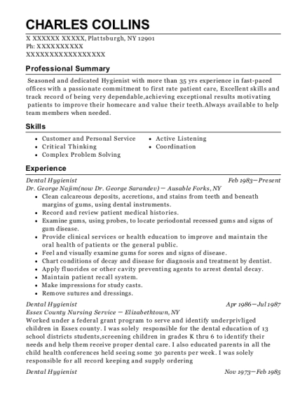 Dental Hygienist resume template New York