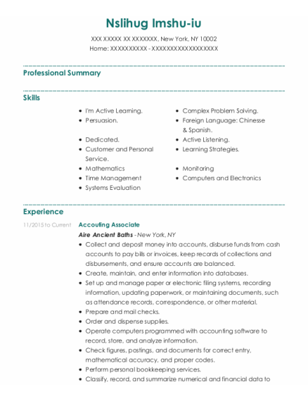Returns and Bookeeping resume format New York