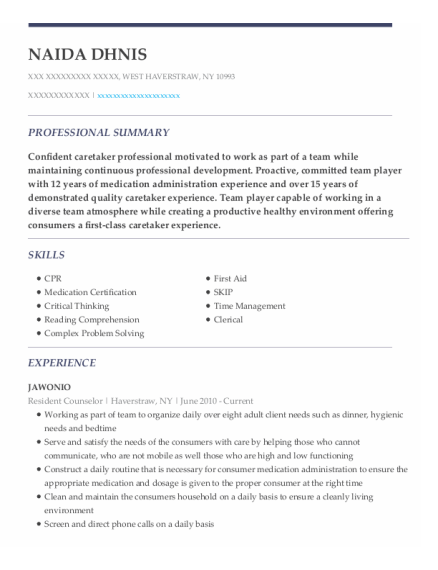 Resident Counselor resume sample New York