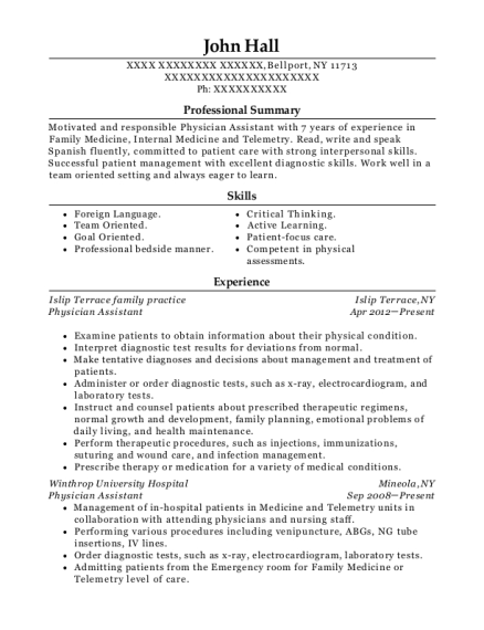 Physician Assistant resume example New York