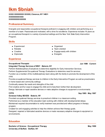Occupational Therapist resume template New York