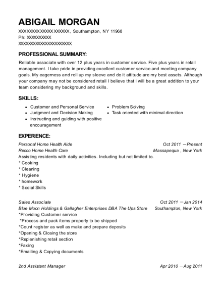 Personal Home Health Aide resume sample New York
