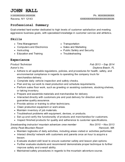 Product Technician resume format New York