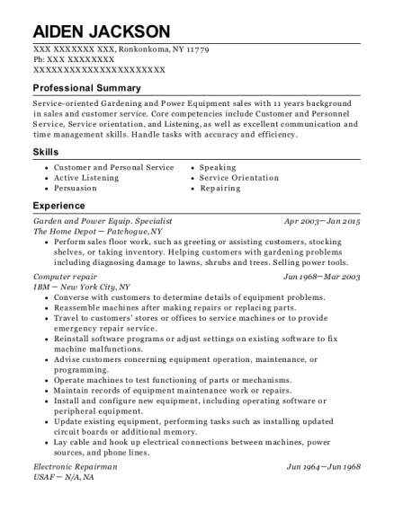 Garden and Power Equip Specialist resume example New York