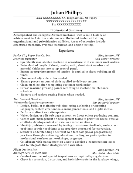 Machine Operator resume template New York