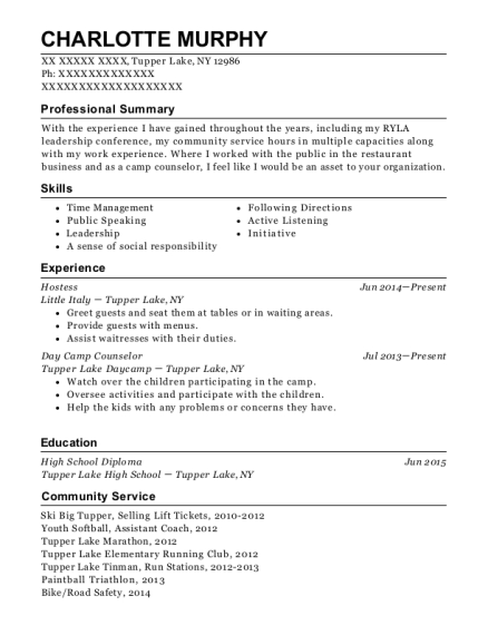 Hostess resume sample New York